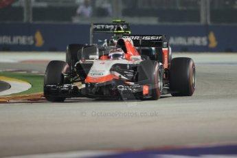 World © Octane Photographic Ltd. Sunday 21st September 2014, Singapore Grand Prix, Marina Bay. - Formula 1 Race. Marussia F1 Team MR03 – Max Chilton and Mercedes AMG Petronas F1 W05 - Nico Rosberg. Digital Ref: