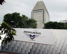 World © Octane Photographic Ltd. Saturday 20th September 2014, Singapore Grand Prix, Marina Bay. Formula 1 Paddock. Marussia F1 Team. Digital Ref: 1122CB1D8190