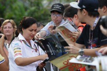 World © Octane Photographic Ltd. Saturday 20th September 2014, Singapore Grand Prix, Marina Bay. - Formula 1 Paddock. Sauber F1 team – Monisha Kaltenborn. Digital Ref: 1122CB1D8414