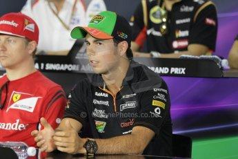 World © Octane Photographic Ltd. Thursday 18th September 2014, Singapore Grand Prix, Marina Bay. - Formula 1 Driver's conference. Sahara Force India VJM07 – Sergio Perez. Digital Ref: 1117CB1D6887
