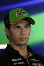 World © Octane Photographic Ltd. Thursday 18th September 2014, Singapore Grand Prix, Marina Bay. - Formula 1 Driver's conference. Sahara Force India VJM07 – Sergio Perez. Digital Ref: 1117LB1D8937