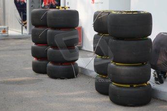 World © Octane Photographic Ltd. Wednesday 17th September 2014, Singapore Grand Prix, Marina Bay. Formula 1 Setup and atmosphere. Sauber F1 team wheels with Pirelli tyre options. Digital Ref: 1115CB1D6403
