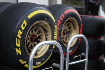World © Octane Photographic Ltd. Wednesday 17th September 2014, Singapore Grand Prix, Marina Bay. Formula 1 Setup and atmosphere. Lotus F1 team wheels with Pirelli tyre choices. Digital Ref: 1115CB1D6452
