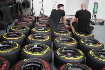 World © Octane Photographic Ltd. Wednesday 17th September 2014, Singapore Grand Prix, Marina Bay. Formula 1 Setup and atmosphere. McLaren Mercedes wheels with Pirelli tyre choices. Digital Ref: 1115CB1D6454