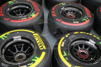 World © Octane Photographic Ltd. Wednesday 17th September 2014, Singapore Grand Prix, Marina Bay. Formula 1 Setup and atmosphere. McLaren Mercedes wheels with Pirelli tyre choices. Digital Ref: 1115CB1D6456