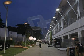 World © Octane Photographic Ltd. Wednesday 17th September 2014, Singapore Grand Prix, Marina Bay. Formula 1 Setup and atmosphere. The paddock at night. Digital Ref: 1115CB6710