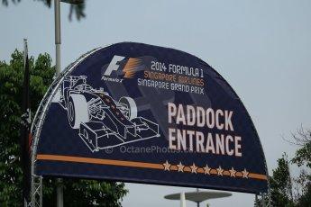 World © Octane Photographic Ltd. Wednesday 17th September 2014, Singapore Grand Prix, Marina Bay. Formula 1 Setup and atmosphere. Paddock entrance. Digital Ref: 1115LB1D8768