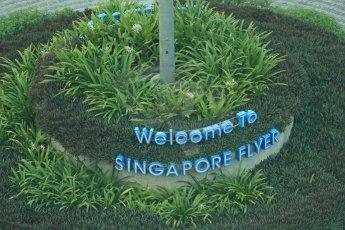 World © Octane Photographic Ltd. Wednesday 17th September 2014, Singapore Grand Prix, Marina Bay. Formula 1 Setup and atmosphere. Singapore Flyer illuminated sign. Digital Ref: 1115LB1D8783