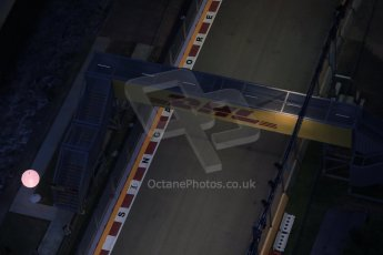 World © Octane Photographic Ltd. Wednesday 17th September 2014, Singapore Grand Prix, Marina Bay. Formula 1 Setup and atmosphere. The straight between turn 21 and 22 (where a DRS detection zone is). Digital Ref: 1115LB1D8822