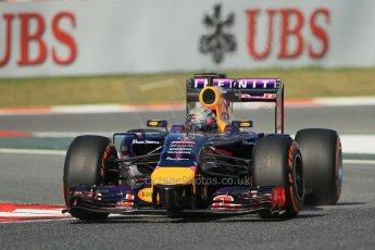 World © Octane Photographic Ltd. Friday 9th May 2014. Circuit de Catalunya - Spain - Formula 1 Practice 1 pitlane. Infiniti Red Bull Racing RB10 - Sebastian Vettel. Digital Ref: