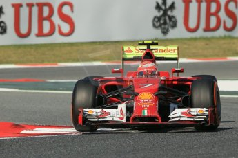 World © Octane Photographic Ltd. Friday 9th May 2014. Circuit de Catalunya - Spain - Formula 1 Practice 1 pitlane. Scuderia Ferrari F14T – Kimi Raikkonen. Digital Ref: