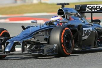 World © Octane Photographic Ltd. Friday 9th May 2014. Circuit de Catalunya - Spain - Formula 1 Practice 1 pitlane. McLaren Mercedes MP4/29 - Jenson Button. Digital Ref: