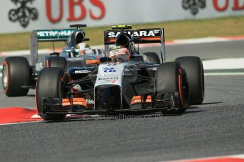 World © Octane Photographic Ltd. Friday 9th May 2014. Circuit de Catalunya - Spain - Formula 1 Practice 1 pitlane. Sahara Force India VJM07 – Sergio Perez. Digital Ref:
