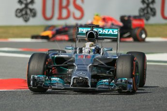 World © Octane Photographic Ltd. Friday 9th May 2014. Circuit de Catalunya - Spain - Formula 1 Practice 1 pitlane. Mercedes AMG Petronas F1 W05 Hybrid – Lewis Hamilton. Digital Ref: