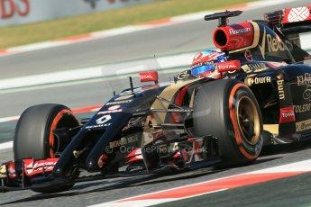 World © Octane Photographic Ltd. Friday 9th May 2014. Circuit de Catalunya - Spain - Formula 1 Practice 1 pitlane. Lotus F1 Team E22 - Romain Grosjean. Digital Ref: