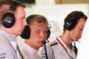 World © Octane Photographic Ltd. Friday 9th May 2014. Circuit de Catalunya - Spain - Formula 1 Practice 2 pitlane. McLaren Mercedes MP4/29 – Kevin Magnussen. Digital Ref: