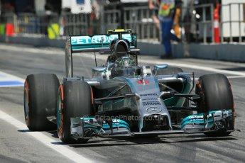 World © Octane Photographic Ltd. Friday 9th May 2014. Circuit de Catalunya - Spain - Formula 1 Practice 2 pitlane. Mercedes AMG Petronas F1 W05 Hybrid - Nico Rosberg. Digital Ref:
