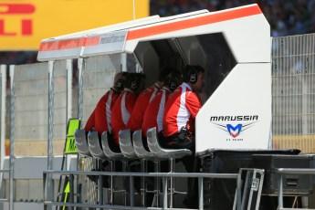 World © Octane Photographic Ltd. Friday 9th May 2014. Circuit de Catalunya - Spain - Formula 1 Practice 2 pitlane. Marussia F1 Team. Digital Ref: