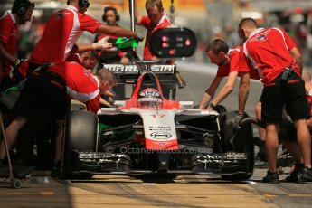 World © Octane Photographic Ltd. Friday 9th May 2014. Circuit de Catalunya - Spain - Formula 1 Practice 2 pitlane. Marussia F1 Team MR03 - Jules Bianchi. Digital Ref: