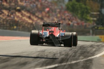 World © Octane Photographic Ltd. Friday 9th May 2014. Circuit de Catalunya - Spain - Formula 1 Practice 2 pitlane. Marussia F1 Team MR03 - Max Chilton. Digital Ref: