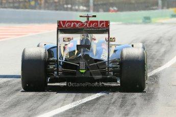 World © Octane Photographic Ltd. Friday 9th May 2014. Circuit de Catalunya - Spain - Formula 1 Practice 2 pitlane. Lotus F1 Team E22 – Pastor Maldonado. Digital Ref: