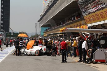 World © Octane Photographic Ltd. Friday 9th May 2014. GP2 Practice – Circuit de Catalunya, Barcelona, Spain. Pitlane. Digital Ref :0927cb7d9087