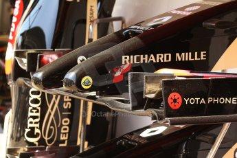 World © Octane Photographic Ltd. Friday 9th May 2014. Circuit de Catalunya - Spain - Formula 1 Practice 1 pitlane. Lotus F1 Team E22. Digital Ref: