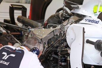 World © Octane Photographic Ltd. Friday 9th May 2014. Circuit de Catalunya - Spain - Formula 1 Practice 1 pitlane. Williams Martini Racing FW36. Digital Ref: