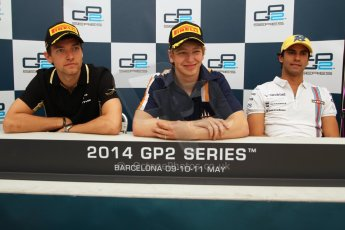 World © Octane Photographic Ltd. Saturday 10th May 2014. GP2 Race 1 Press conference – Circuit de Catalunya, Barcelona, Spain. Johnny Cecotto - Trident (1st), Jolyon Palmer - DAMS (2nd) and Felipe Nasr - Carlin (3rd). Digital Ref :