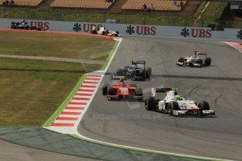 World © Octane Photographic Ltd. Saturday 10th May 2014. GP2 Race 1 – Circuit de Catalunya, Barcelona, Spain. Kimiya Sato and Arthur Pic - Campos Racing and Tom Dillmann - Arden International. . Digital Ref :