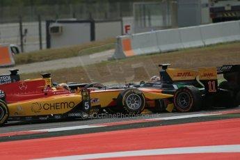 World © Octane Photographic Ltd. Saturday 10th May 2014. GP2 Race 1 – Circuit de Catalunya, Barcelona, Spain. Daniel Abt - Hilmer Motorsport and Raffaele Marciello - Racing Engineering. Digital Ref: