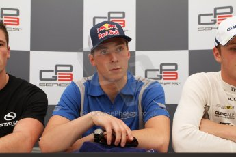 World © Octane Photographic Ltd. Saturday 10th May 2014. GP3 Qualifying press conference– Circuit de Catalunya, Barcelona, Spain. Alex Lynn - Carlin (1st). Digital Ref :