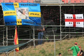World © Octane Photographic Ltd. Saturday 10th May 2014. Circuit de Catalunya - Spain - Formula 1 Practice 3. Ronnie Peterson remembrance fan banner. Digital Ref: 0935lb1d7088