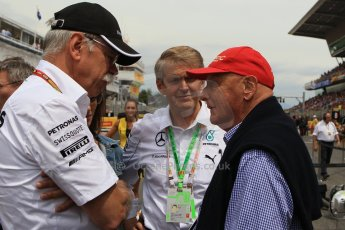 World © Octane Photographic Ltd. Sunday 11th May 2014. Circuit de Catalunya - Spain - Formula 1 Grid. Mercedes AMG Petronas Niki Lauda and Daimler AG CEO Dieter Zetsche. Digital Ref: