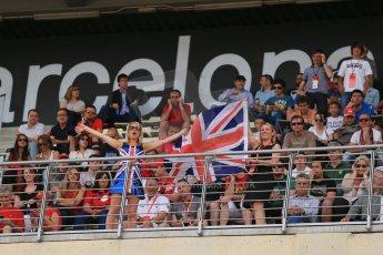 World © Octane Photographic Ltd. Sunday 11th May 2014. Circuit de Catalunya - Spain - Formula 1 Driver Parade. British fans in the crowd. Digital Ref: