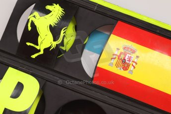 World © Octane Photographic Ltd. Sunday 11th May 2014. GP2 Race 2 – Circuit de Catalunya, Barcelona, Spain. Fernando Alonso Pit board. Digital Ref :