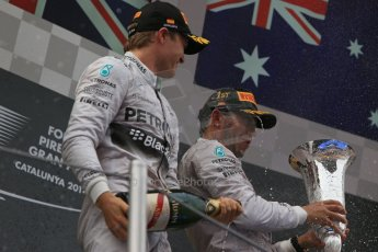 World © Octane Photographic Ltd. Thursday 8th May 2014. Circuit de Catalunya - Spain - Formula 1 Podium. Mercedes AMG Petronas F1 W05 Hybrid – Lewis Hamilton (1st) and Nico Rosberg (2nd). Digital Ref: