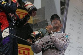 World © Octane Photographic Ltd. Thursday 8th May 2014. Circuit de Catalunya - Spain - Formula 1 Podium. Mercedes AMG Petronas F1 W05 Hybrid – Lewis Hamilton (1st). Digital Ref: