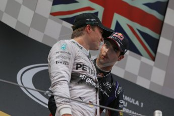 World © Octane Photographic Ltd. Thursday 8th May 2014. Circuit de Catalunya - Spain - Formula 1 Podium. Mercedes AMG Petronas F1 W05 Hybrid – Nico Rosberg (2nd) and Infiniti Red Bull Racing RB10 – Daniel Ricciardo (3rd). Digital Ref: