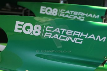 World © Octane Photographic Ltd. Thursday 8th May 2014. GP2 Paddock – Circuit de Catalunya, Barcelona, Spain. EQ8 Caterham Racing logos on airbox covers. Digital Ref : 0923cb1d2803