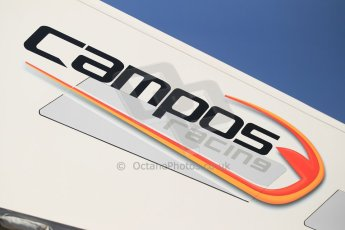 World © Octane Photographic Ltd. Thursday 8th May 2014. GP2 Paddock – Circuit de Catalunya, Barcelona, Spain. Campos Racing logo. Digital Ref : 0923cb1d2815