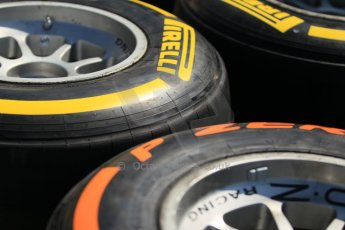 World © Octane Photographic Ltd. Thursday 8th May 2014. GP3 Paddock – Circuit de Catalunya, Barcelona, Spain. Pirelli tyre choice. Digital Ref : 0923cb1d2852