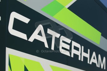 World © Octane Photographic Ltd. Thursday 8th May 2014. GP2 Paddock – Circuit de Catalunya, Barcelona, Spain. EQ8 Caterham Racing logo. Digital Ref : 0923cb1d3009