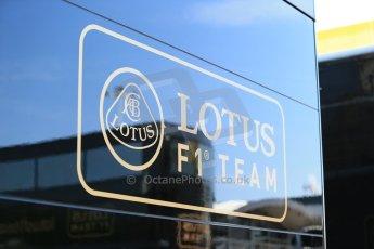 World © Octane Photographic Ltd. Thursday 8th May 2014. Circuit de Catalunya - Spain - Formula 1 Paddock. Lotus F1 Team E22 team logo. Digital Ref: 0922lb1d2745