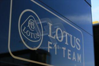 World © Octane Photographic Ltd. Thursday 8th May 2014. Circuit de Catalunya - Spain - Formula 1 Paddock. Lotus F1 Team E22 team logo. Digital Ref: 0922lb1d2747
