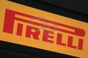 World © Octane Photographic Ltd. Thursday 8th May 2014. Circuit de Catalunya - Spain - Formula 1 Paddock. Pirelli logo. Digital Ref: 0922lb1d2771