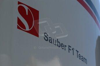 World © Octane Photographic Ltd. Thursday 8th May 2014. Circuit de Catalunya - Spain - Formula 1 Paddock. Sauber F1 Team logo. Digital Ref: 0922lb1d2854