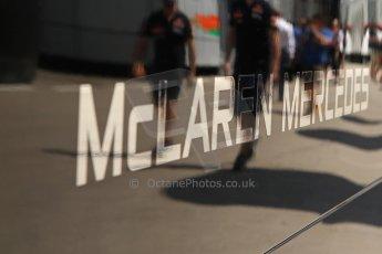 World © Octane Photographic Ltd. Thursday 8th May 2014. Circuit de Catalunya - Spain - Formula 1 Paddock. Vodafone McLaren Mercedes MP4/29. McLaren Logo. Digital Ref: 0922lw7d8597