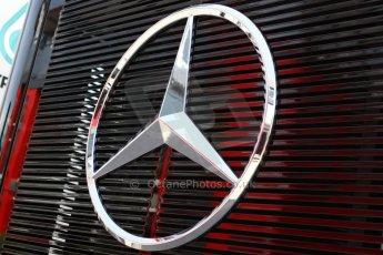 World © Octane Photographic Ltd. Thursday 8th May 2014. Circuit de Catalunya - Spain - Formula 1 Paddock. Mercedes AMG Petronas F1 W05 Hybrid. Mercedes three pointed star. Digital Ref: 0922lw7d8632