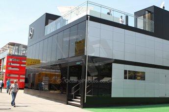 World © Octane Photographic Ltd. Thursday 8th May 2014. Circuit de Catalunya - Spain - Formula 1 Paddock. Mercedes AMG Petronas F1 W05 Hybrid. Mercedes Motorhome. Digital Ref: 0922lw7d8642
